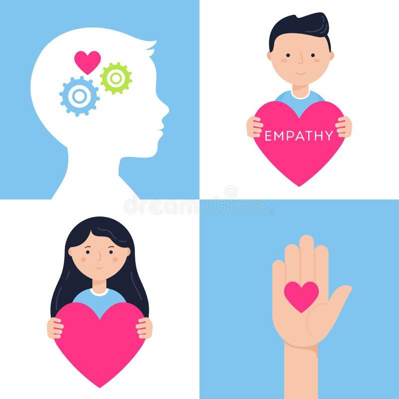 Ensemble émotif d'illustrations de vecteur de concept d'intelligence, d'empathie et de santé mentale illustration libre de droits