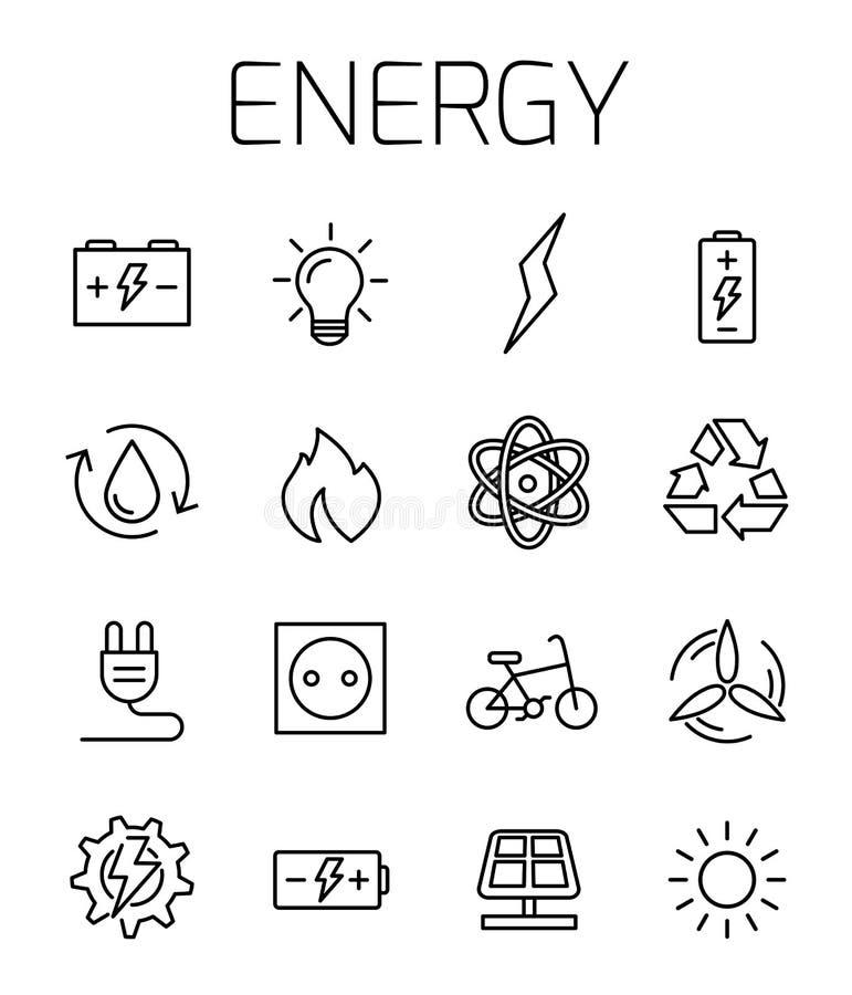 Ensemble énergétique d'icône de vecteur illustration stock