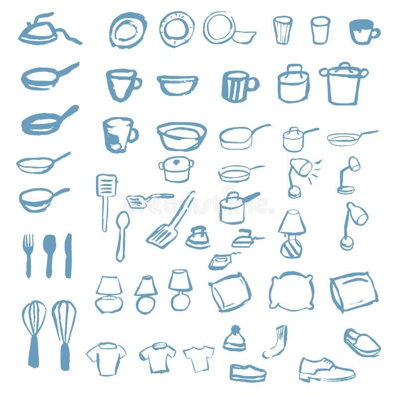 Ensemble énorme d'icônes de ménage des oreillers dans des pots et des casseroles illustration de vecteur