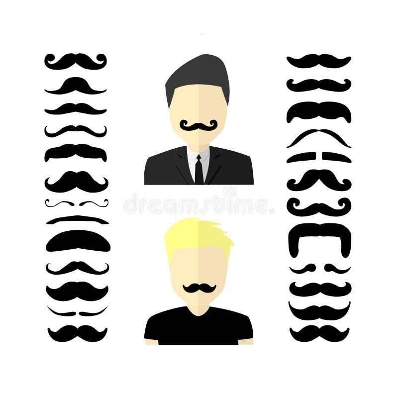 Ensemble énorme de moustaches noires de vecteur de hippie avec l'homme illustration stock