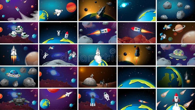Ensemble énorme de scènes de l'espace illustration de vecteur