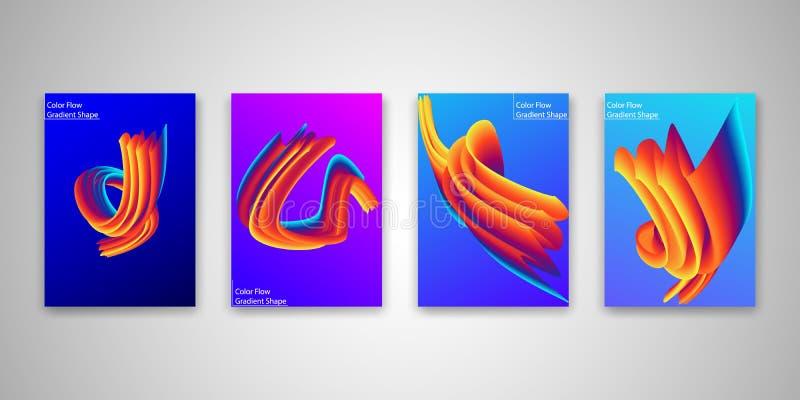 Ensemble abstrait de calibres de forme d'écoulement de couleur, collection colorée liquide de fond de gradient Illustration de ve illustration stock