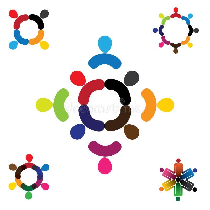 Ensemble abstrait de collection de conception de logo de vecteur de personnes illustration stock