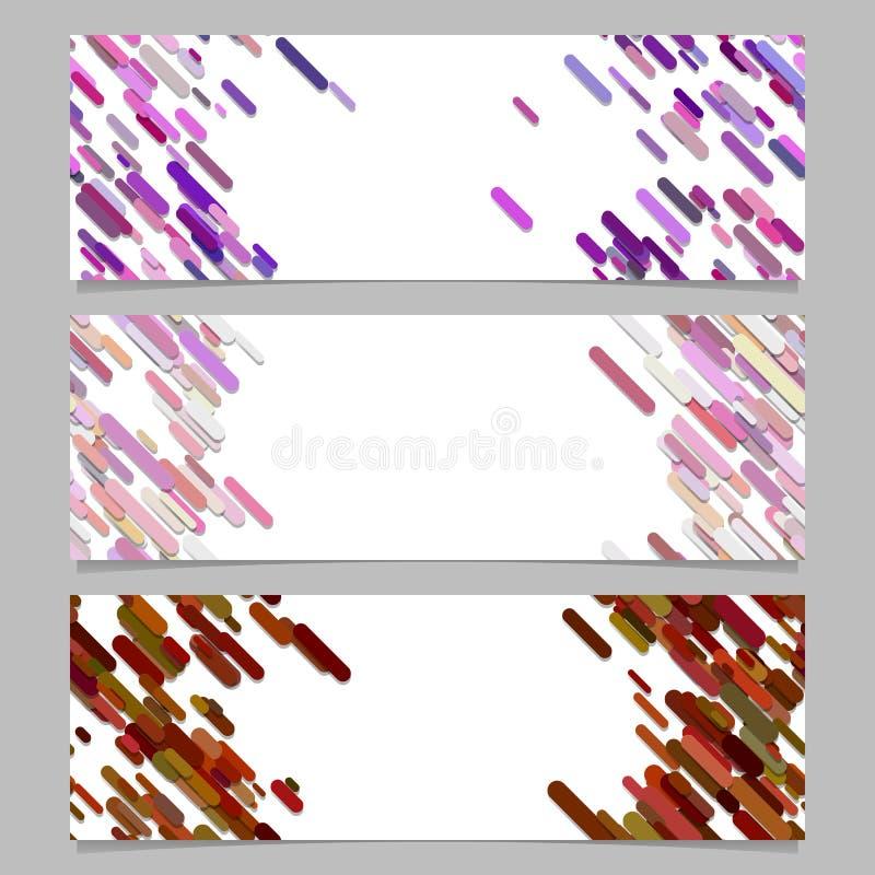 Ensemble abstrait de conception de calibre de fond de bannière avec les rayures diagonales colorées illustration de vecteur