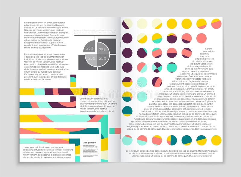 Ensemble abstrait de fond de disposition de vecteur Pour la conception de calibre d'art, liste, frontpage, style de thème de broc illustration stock