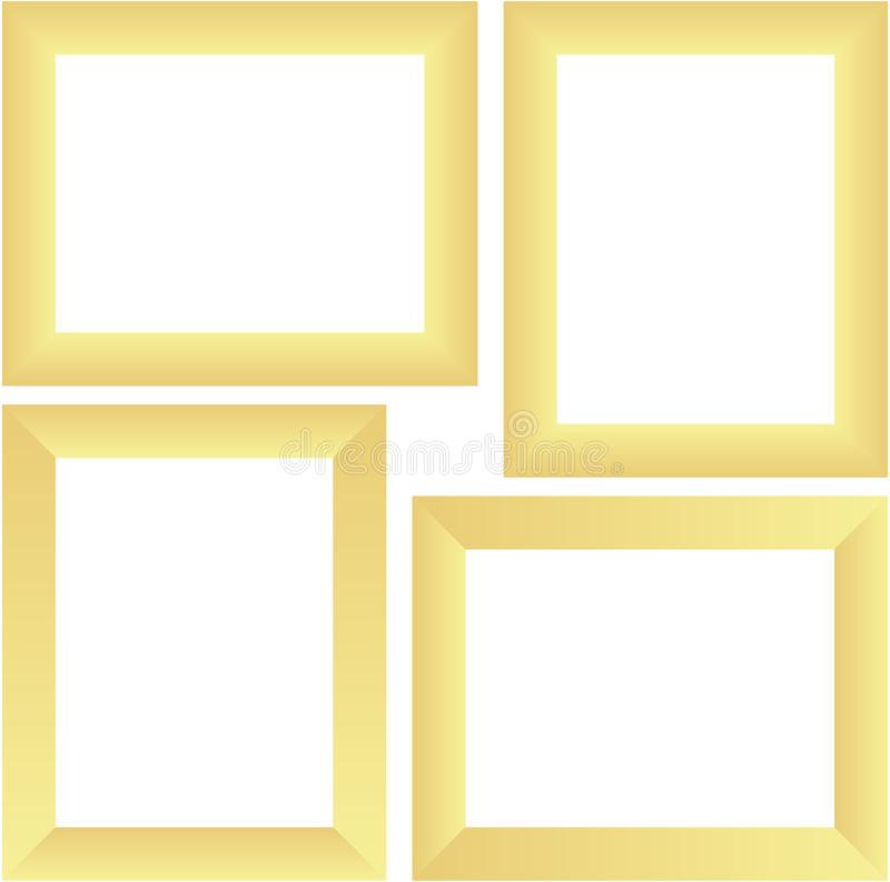Ensemble abstrait de modèle d'illustrati d'or de vecteur de conception de T-shirt de fond de texture de cadre de photo de calibre illustration stock