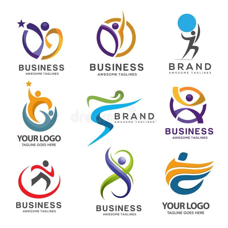 Ensemble abstrait moderne simple de logo de forme physique illustration stock