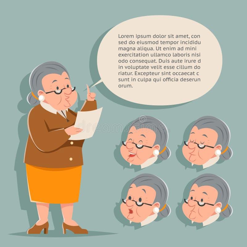 Ensemble adulte de constructeur d'icône de caractère de mamie d'Emotion Old Female de professeur d'isolement illustration de vecteur