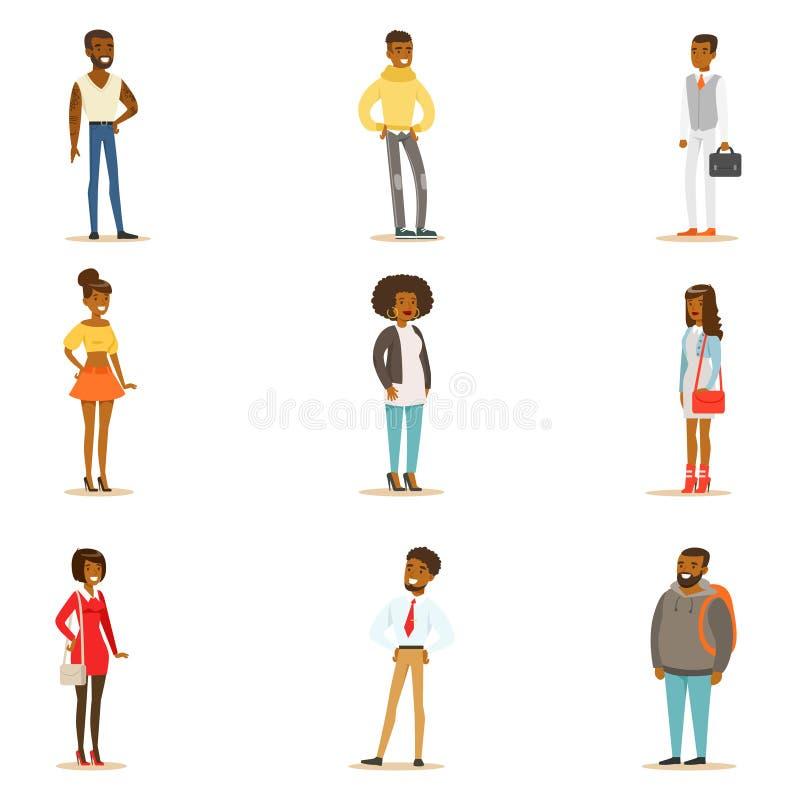 Ensemble afro-américain d'habillement de style de rue de personnes de race noire de position de personnages de dessin animé illustration stock
