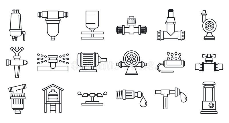 Ensemble agricole d'icône de système d'irrigation, style d'ensemble illustration stock