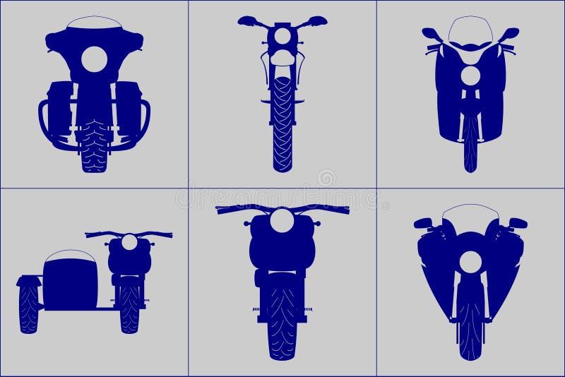 Ensemble aimable différent d'icône d'illustration de vecteur de vue de face de moto illustration stock