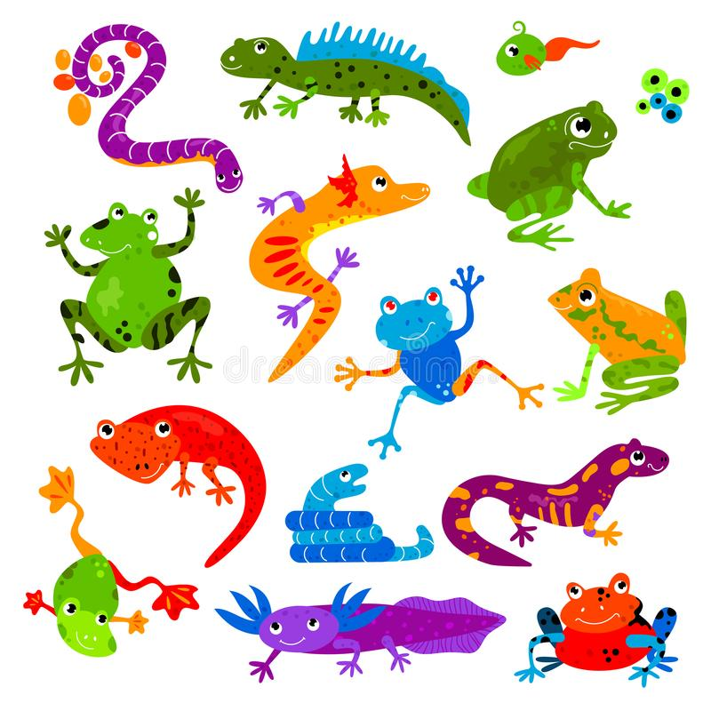 Ensemble amphibie reptile animal d'illustration d'animal familier d'iguane et de caméléon de tortue de lézard de caractère de fro illustration stock
