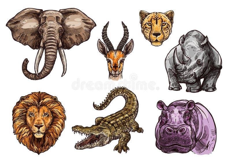 Ensemble animal africain de croquis d'éléphant, lion, hippopotame illustration de vecteur