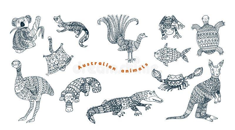 Ensemble animal australien tribal de vecteur illustration stock