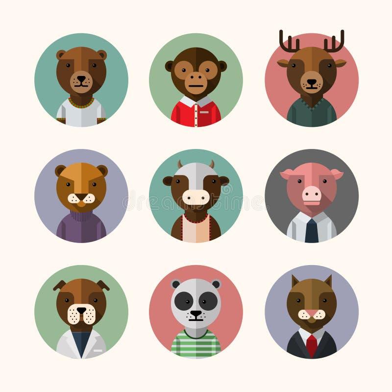 Ensemble animal d'icône d'avatar de style plat de conception illustration stock