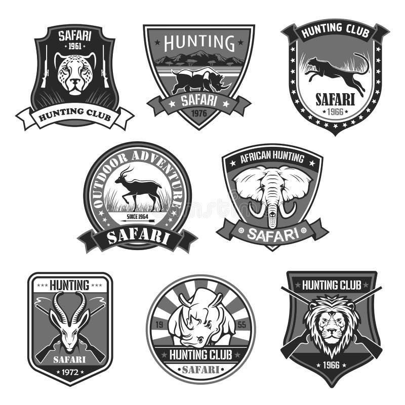 Ensemble animal d'insigne de club de chasse de safari africain illustration stock