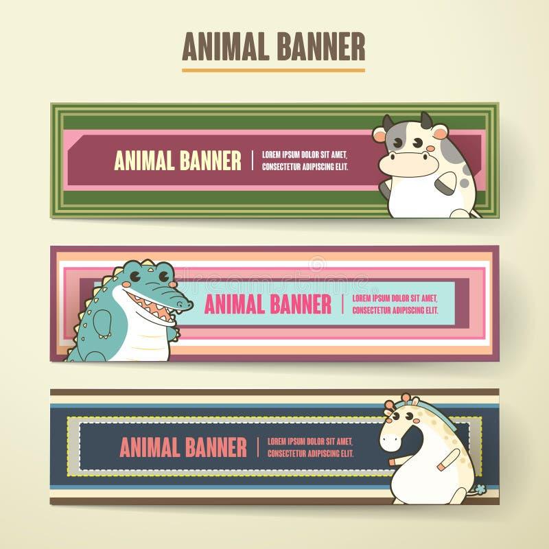 Ensemble animal de collection de bannière de bande dessinée adorable illustration de vecteur