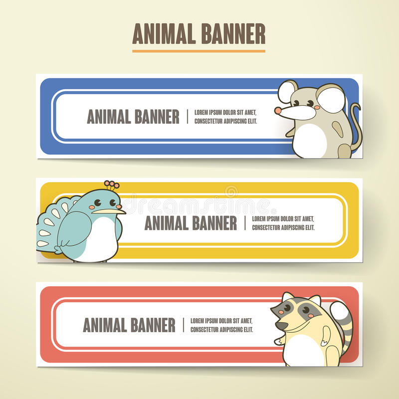 Ensemble animal de collection de bannière de bande dessinée adorable illustration stock