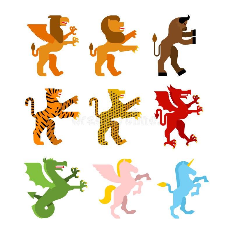 Ensemble animal héraldique Griffin, lion et minotaur Teague, léopard illustration de vecteur