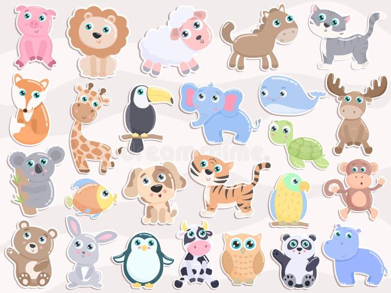 Ensemble animal mignon d'autocollant illustration stock