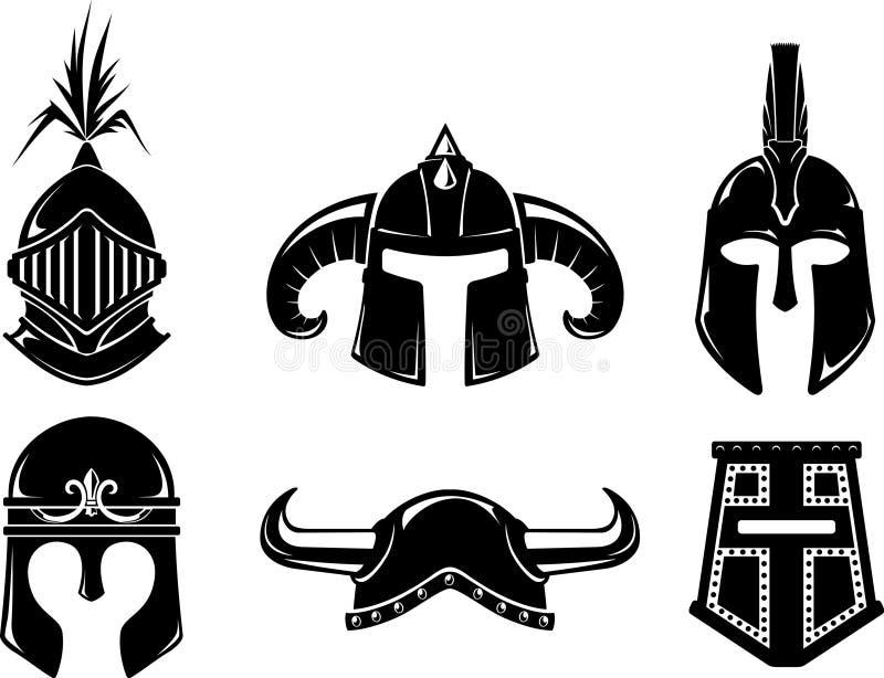 Ensemble antique de casque de guerrier illustration stock