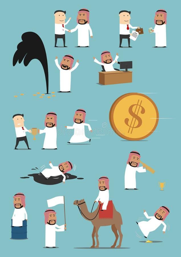 Ensemble Arabe de bande dessinée d'activités d'homme d'affaires illustration stock