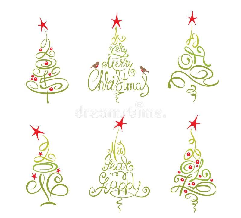 Ensemble -- arbres de Noël abstraits illustration stock