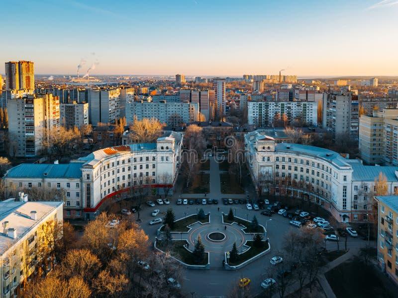 Ensemble architectural historique de Voronej, vue aérienne images stock