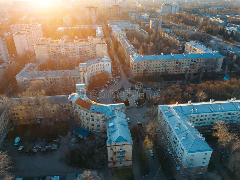 Ensemble architectural historique du soir Voronej, vue aérienne photo libre de droits