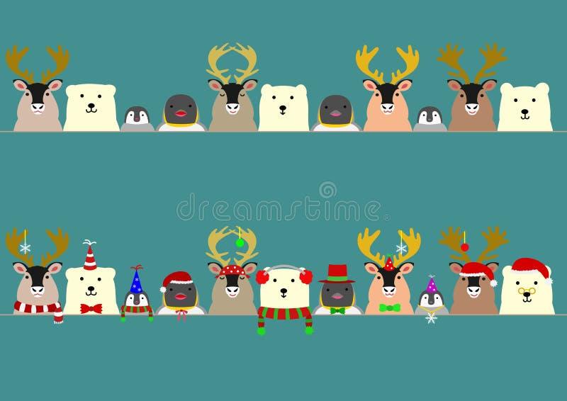 Ensemble arctique mignon de frontière d'animaux illustration de vecteur