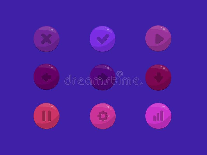 Ensemble arrondi coloré d'icône de boutons d'actions de vecteur illustration stock