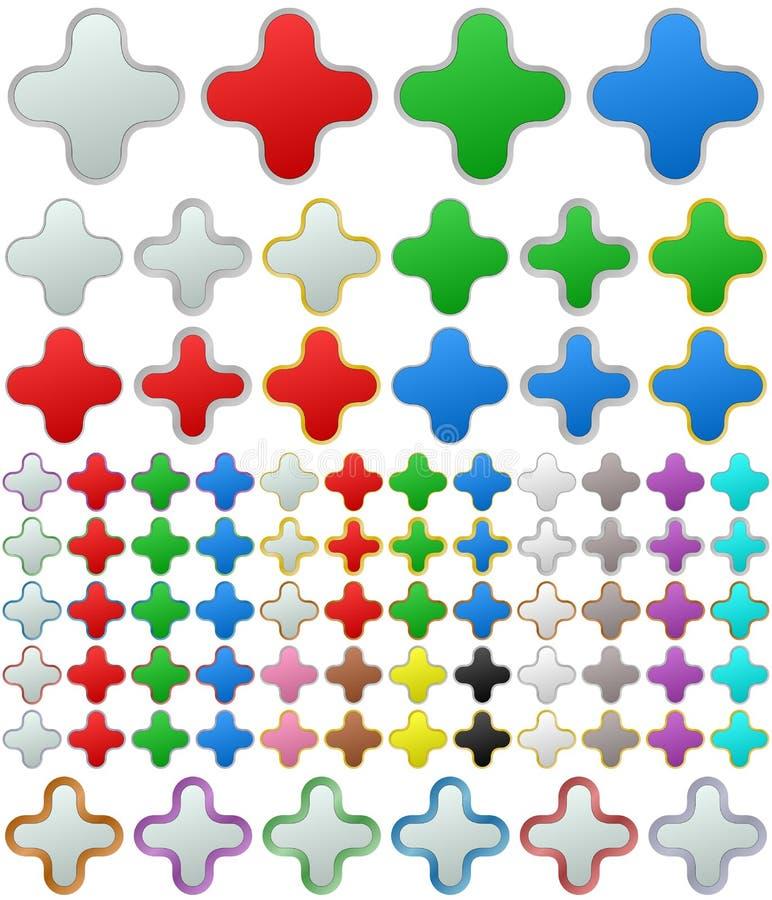 Ensemble arrondi métallique de bouton de bourdonnement de couleur illustration libre de droits