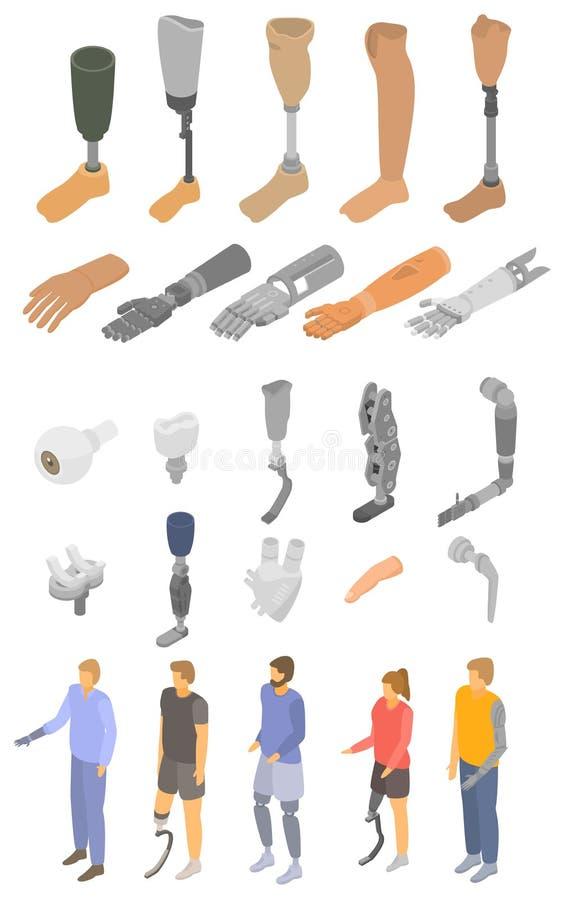 Ensemble artificiel d'icônes de membres, style isométrique illustration de vecteur
