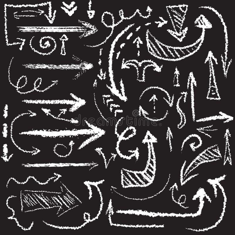 Ensemble artistique tiré par la main de flèche de craie de vecteur illustration libre de droits