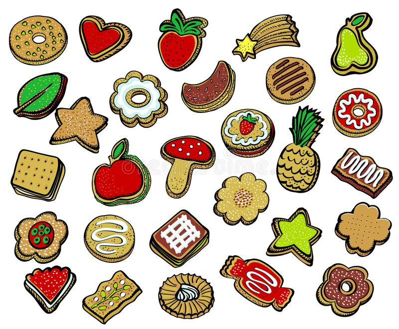 Ensemble assorti de biscuits illustration de vecteur