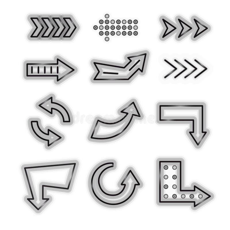 Ensemble au néon détaillé réaliste d'icône de noir de la flèche 3d Vecteur illustration libre de droits