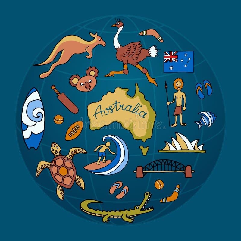 Ensemble australien de griffonnage de vecteur illustration stock