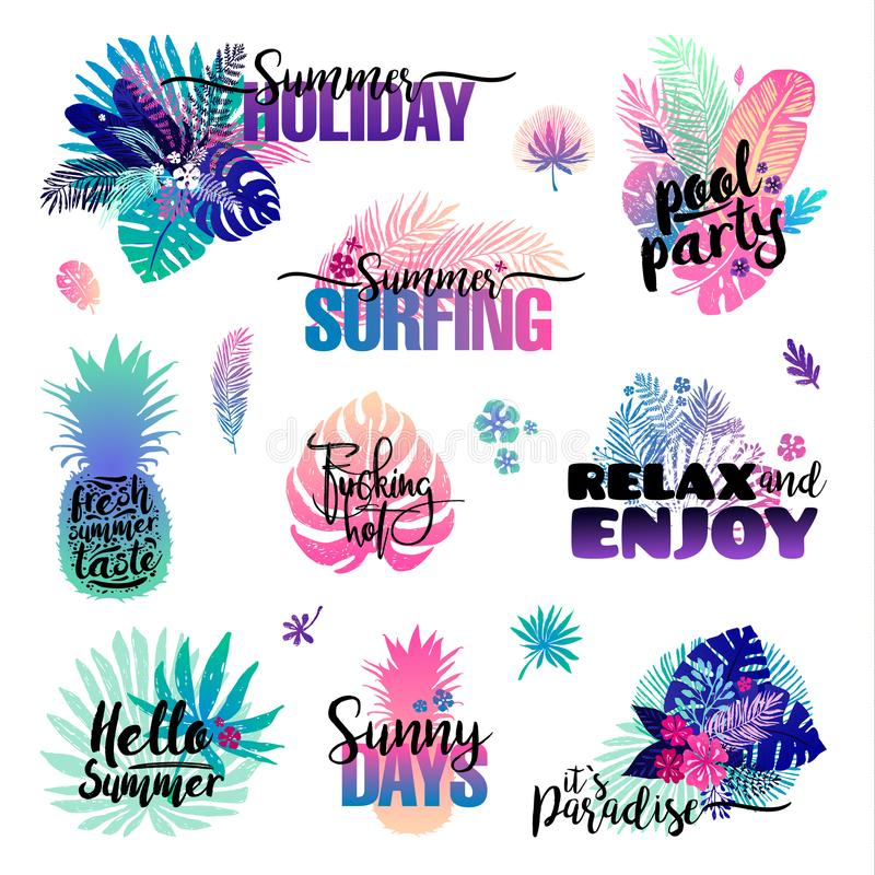 Ensemble avec des labels de palmiers, des logos d'été, des étiquettes et des éléments, pour des vacances, voyage, vacances de pla illustration libre de droits