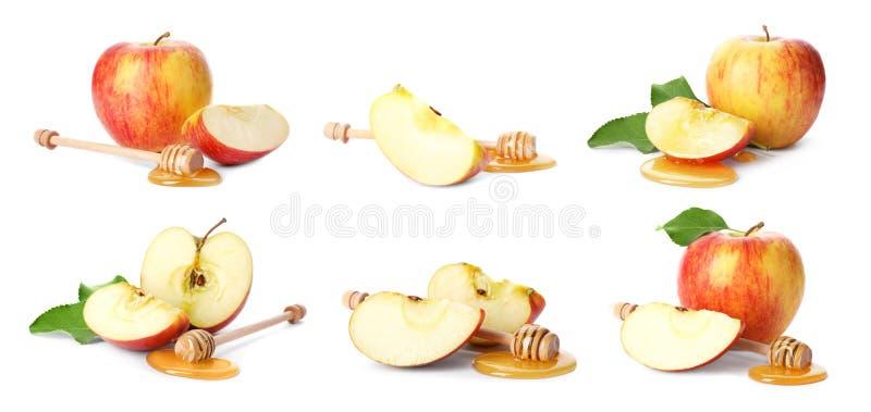 Ensemble avec les pommes et le miel coupés image stock