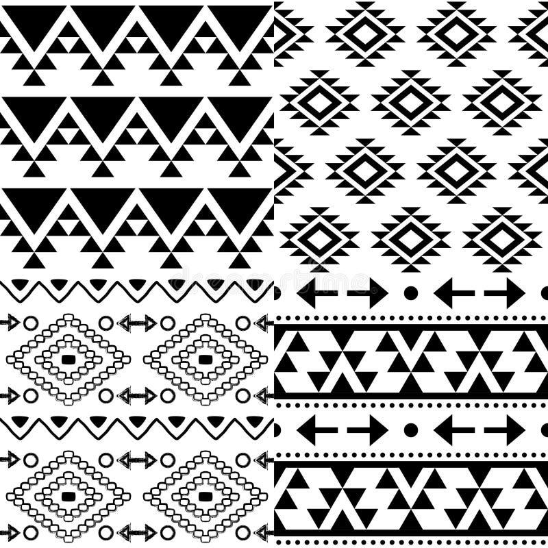 Ensemble aztèque de modèle de vecteur, collection tribale de fond, conception de Navajo dans le modèle noir sur le blanc illustration de vecteur