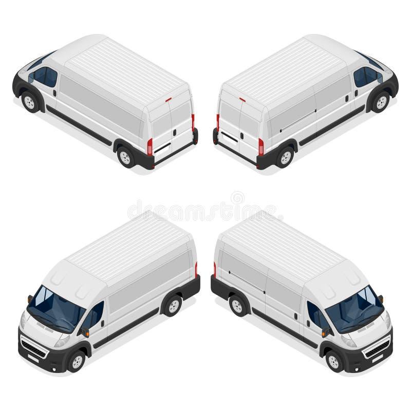 Ensemble blanc commercial de van icons d'isolement sur un fond blanc Illustration isométrique du vecteur 3d plat illustration de vecteur