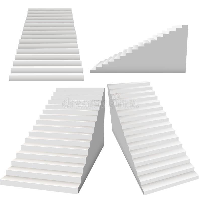 Ensemble blanc d'escaliers, escaliers 3d intérieurs d'isolement sur le backg blanc illustration de vecteur