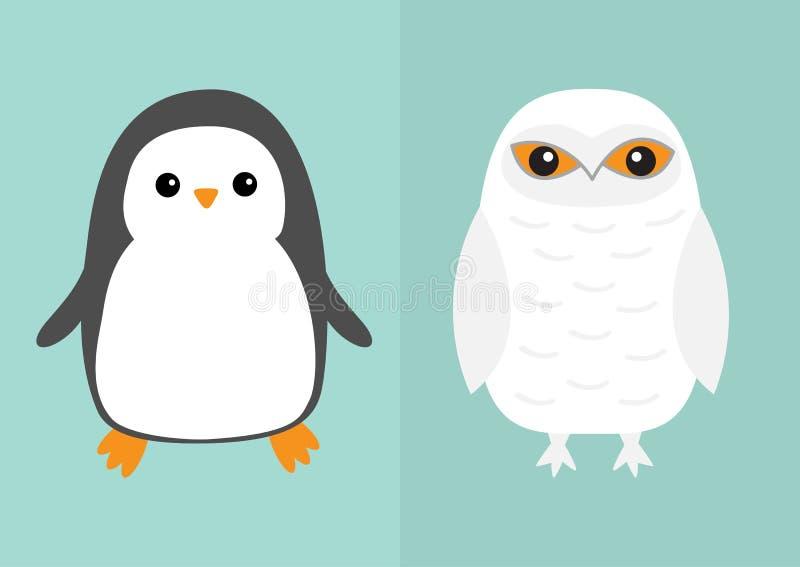 Ensemble blanc d'icône d'oiseau de pingouin de hibou de Milou Oiseau se reposant avec des ailes Grange de neige Yeux jaunes Colle illustration libre de droits