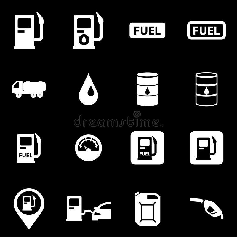 Ensemble blanc d'icône de station service de vecteur illustration stock