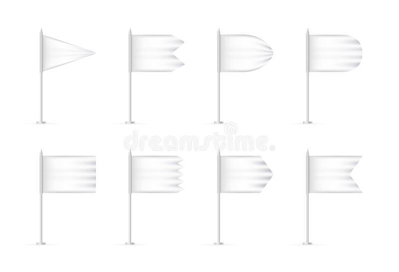 Ensemble blanc de maquette du drapeau 3d de blanc de vecteur illustration de vecteur