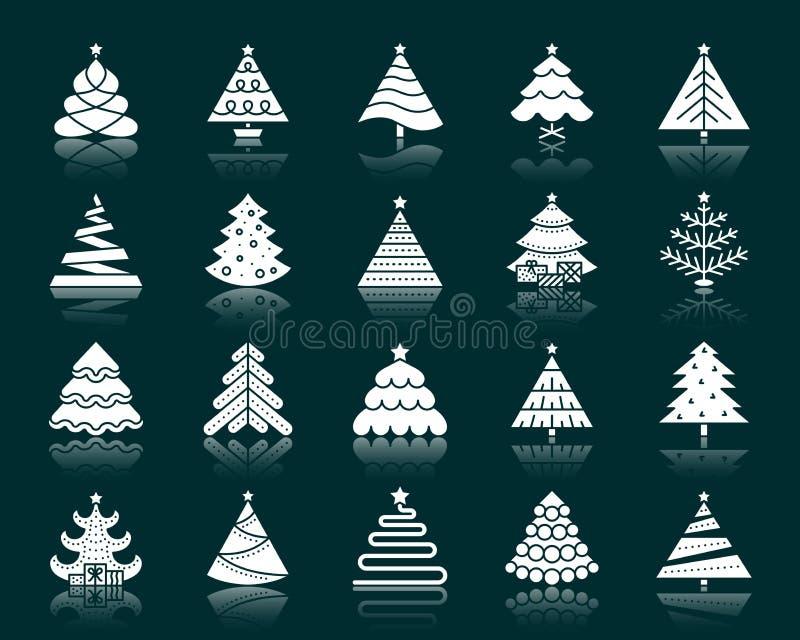Ensemble blanc de vecteur d'icônes de silhouette d'arbre de Noël illustration stock