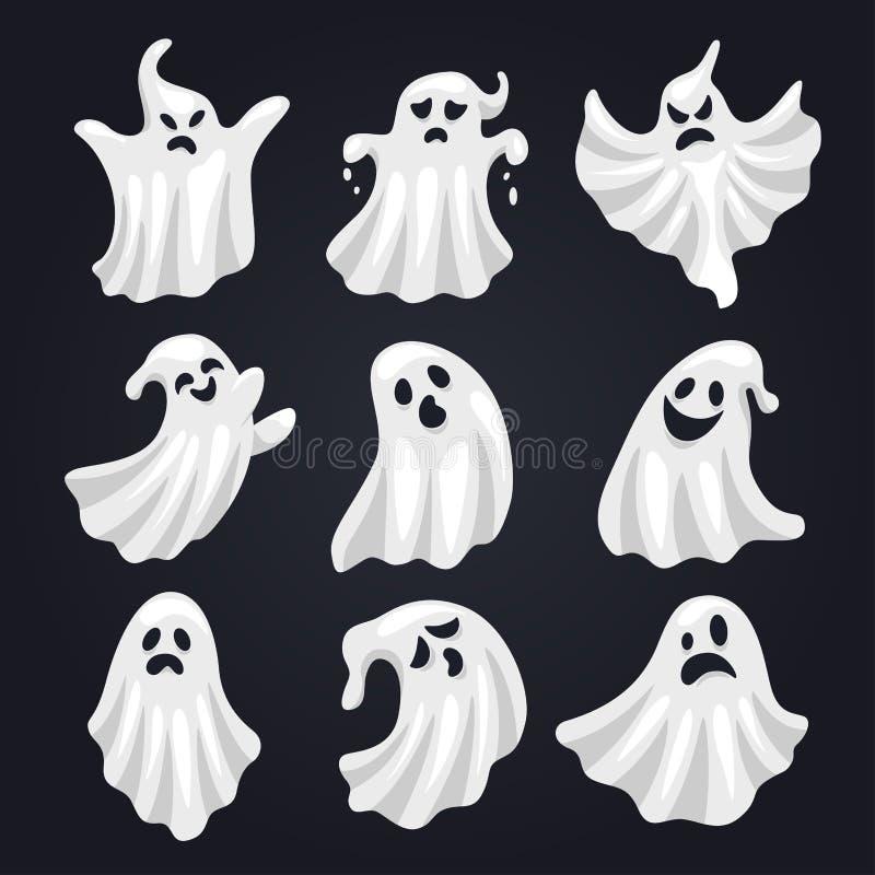 Ensemble blanc effrayant d'horreur de fantôme pour Halloween illustration libre de droits