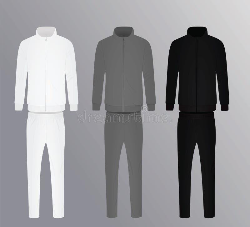 Ensemble, blanc, gris et noir de Tracksuits illustration de vecteur