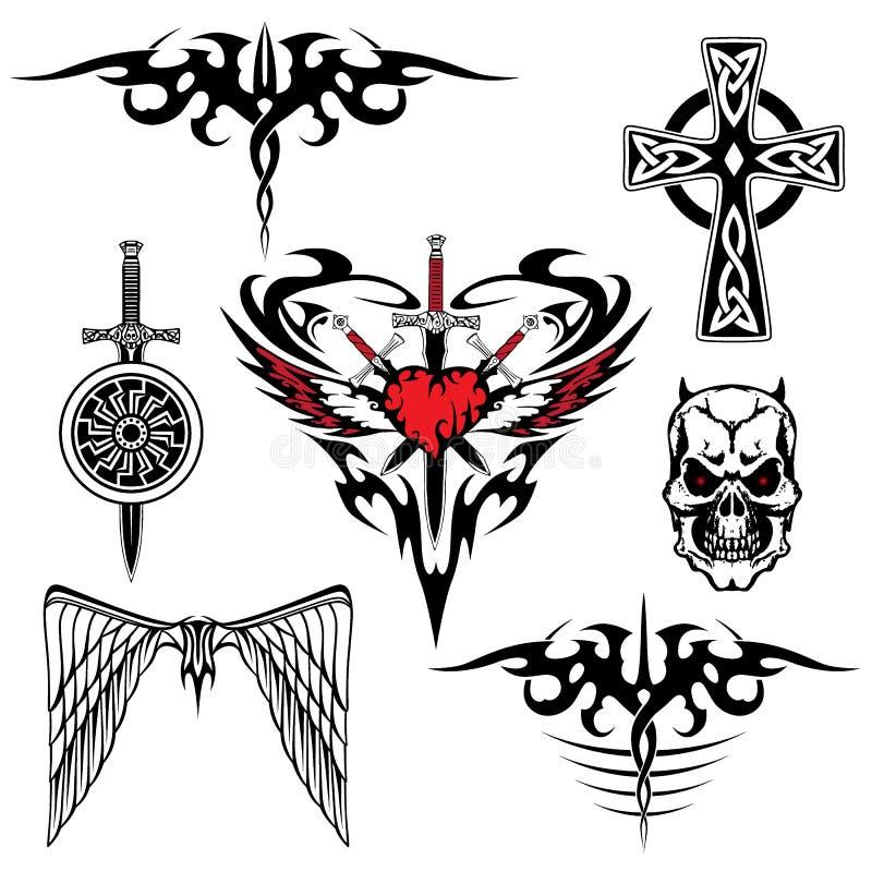 Ensemble blanc rouge noir de tatouage illustration stock