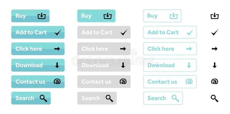 Ensemble bleu-clair de boutons de Web avec des icônes photos libres de droits